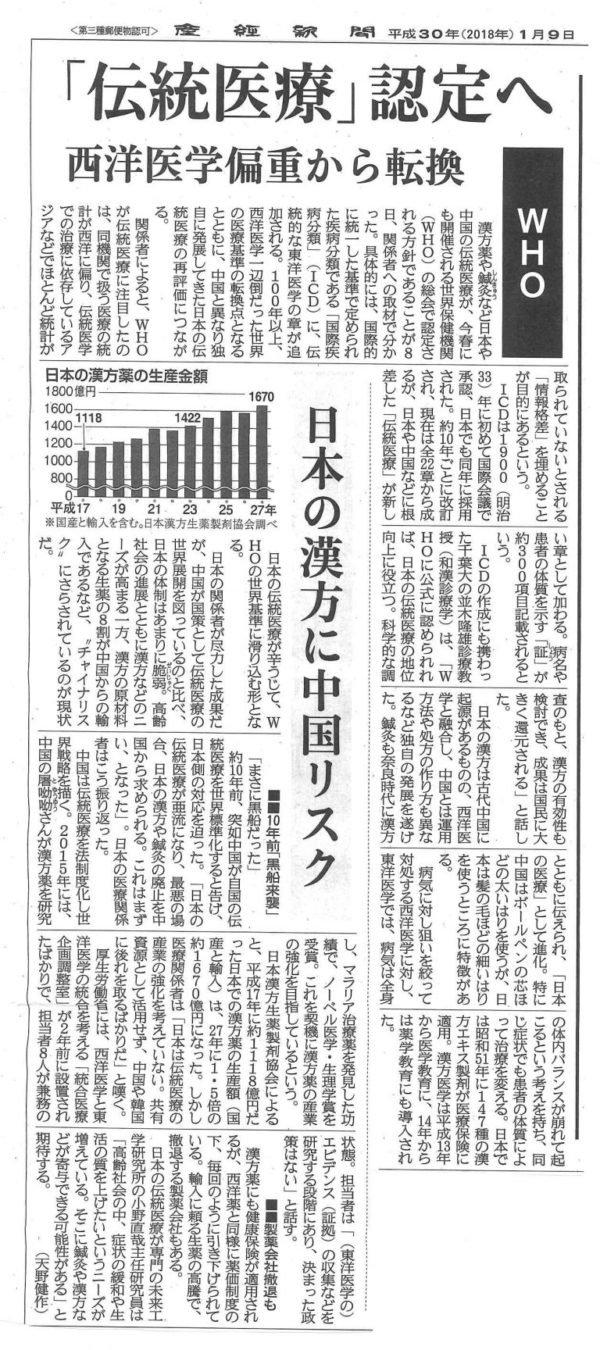 鍼治療に関する新聞記事